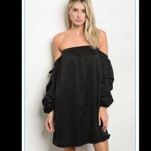 Beautiful & Simple Off The Shoulder Dress - Black